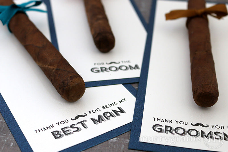 Stache Thank You for Being My Groomsman Cigar Card