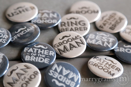 Mustache Bridal Party Buttons