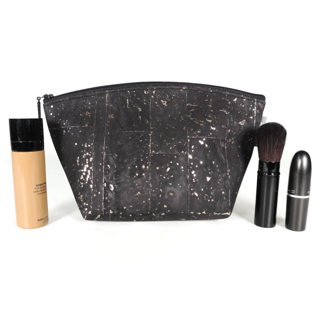 Cork Small Standing Cosmetic Pouch black and gold
