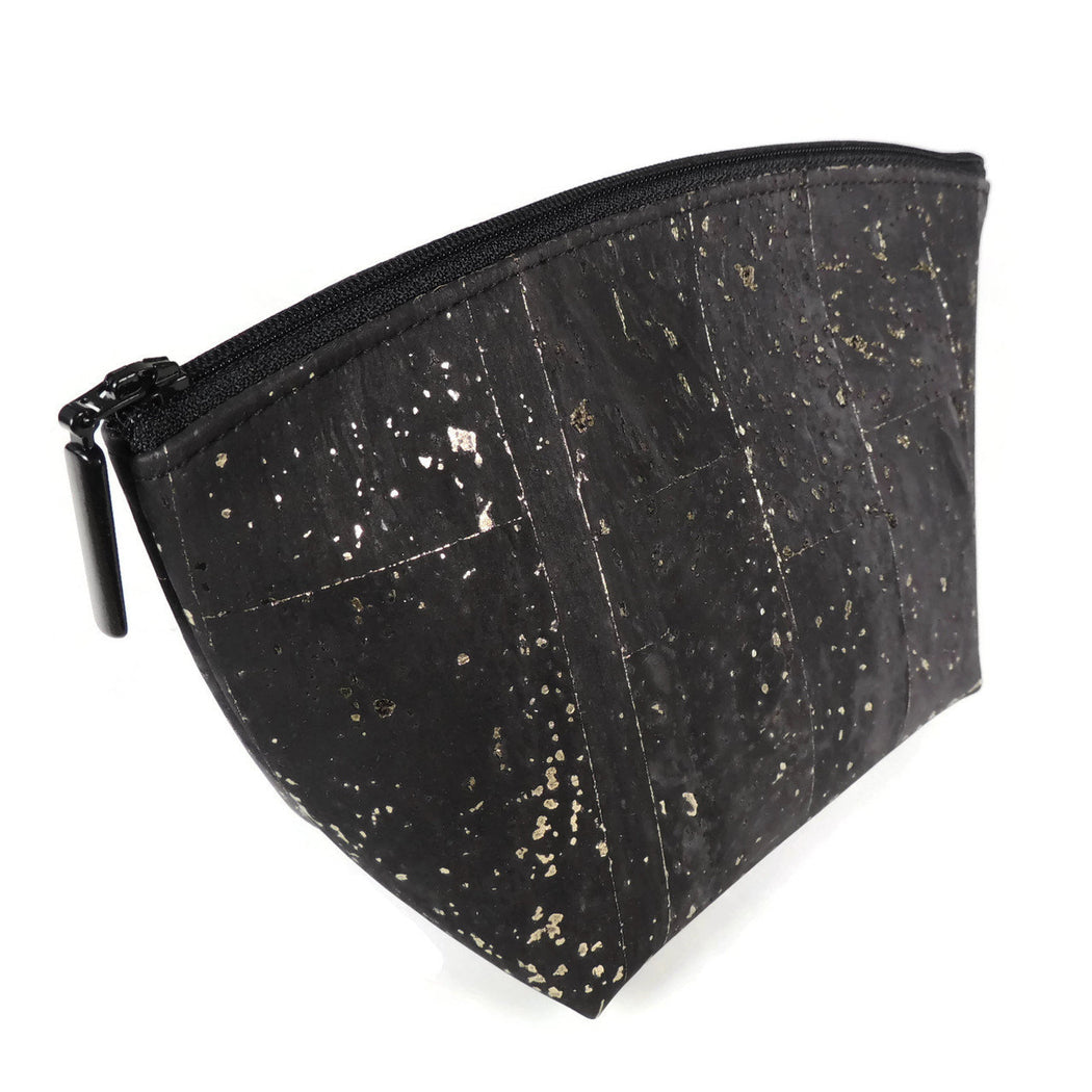 Cork Small Standing Cosmetic Pouch black with dash gold