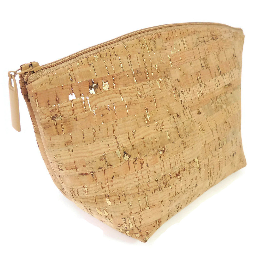 Cork Small Standing Cosmetic Pouch natural with dash gold