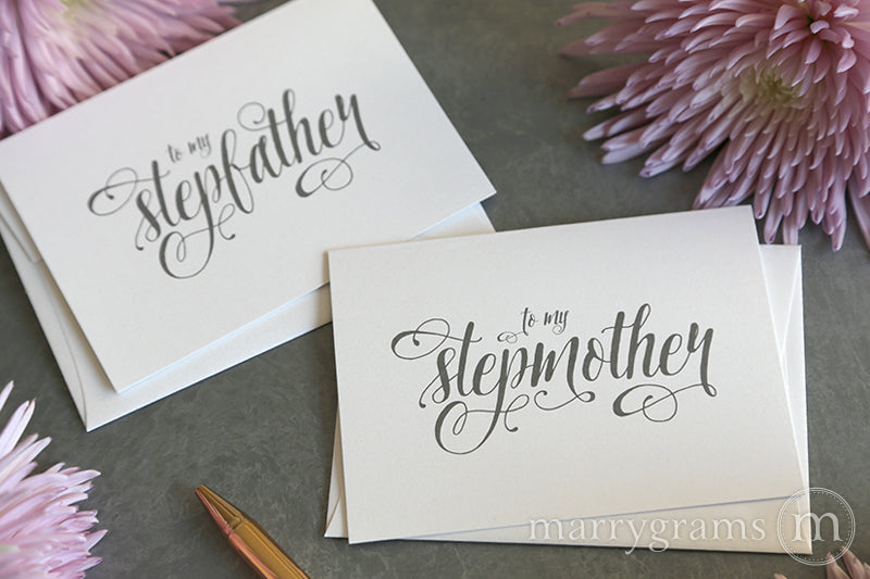 To My Family stepmother and stepfather Wedding Card Romantic Style