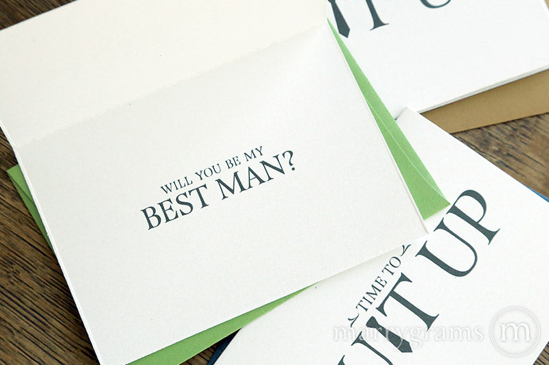 Suit Up Be My Groomsman Proposal Card