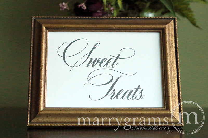Wedding Sweet Treats Dessert Candy Sign Calligraphy Style