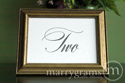 Wedding Table Number Signs Calligraphy Style