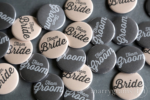 Team Bride & Team Groom Buttons