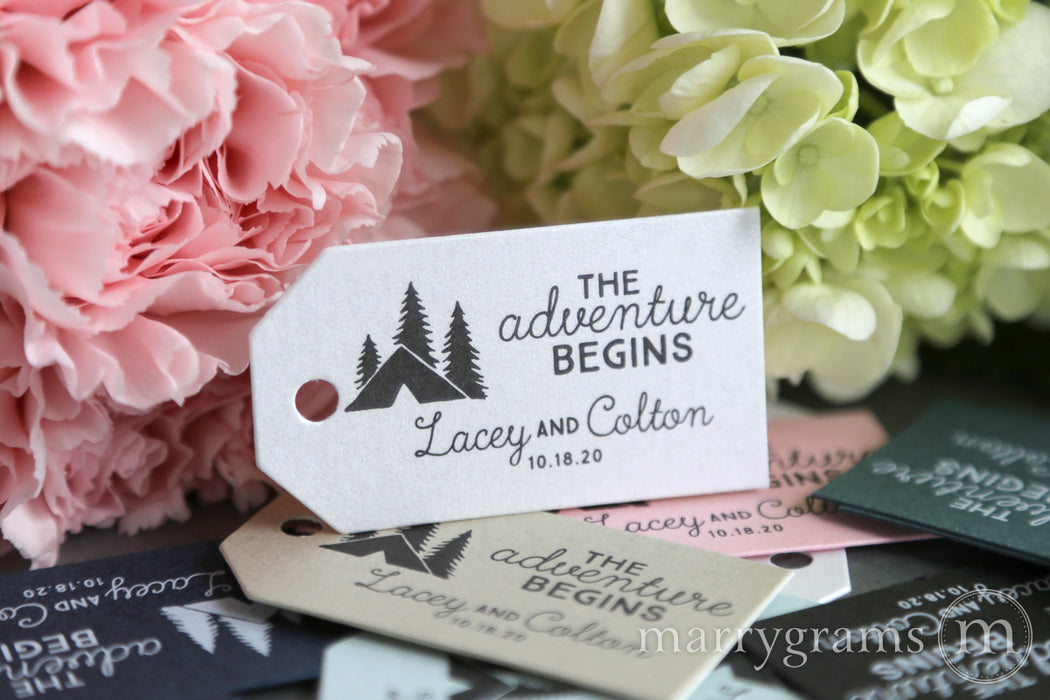 The Adventure Begins Favor Tags