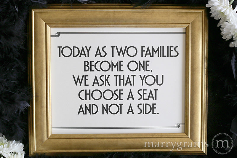 As Two Families Become One Seating Sign Deco Style