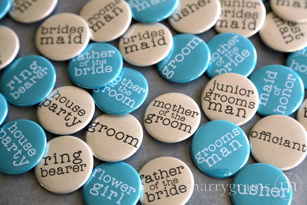 Bridal Party Buttons Typewriter Style