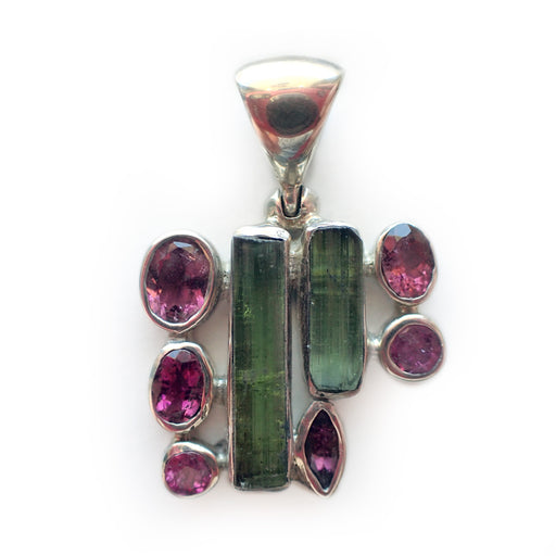 Pink Green Tourmaline & Crystal Pendant - Medium