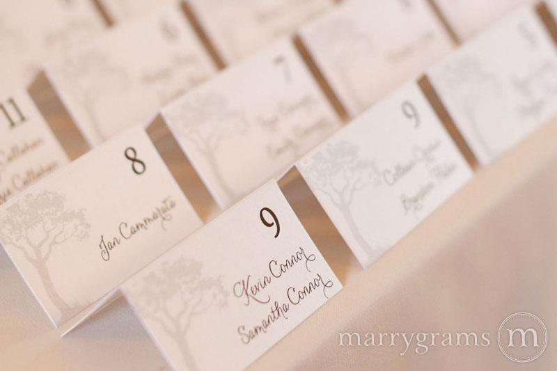 Tree Themed Reception Escort Cards place cards wedding stationery