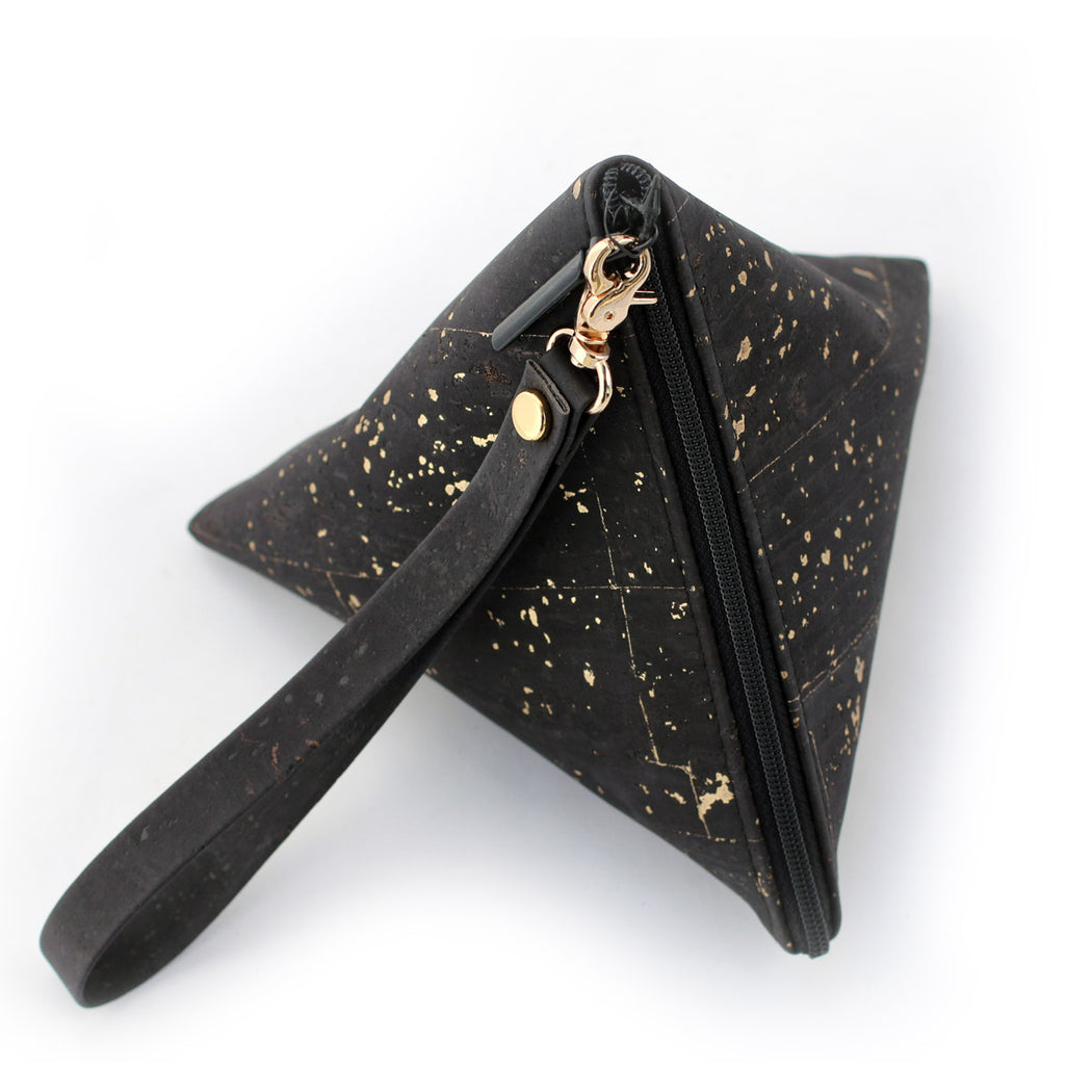 Cork Triangle Pouch wristlet clutch black with dash gold