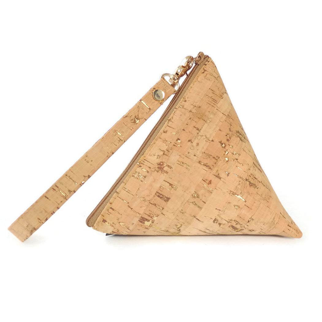 Cork Triangle Pouch wristlet clutch natural with dash gold