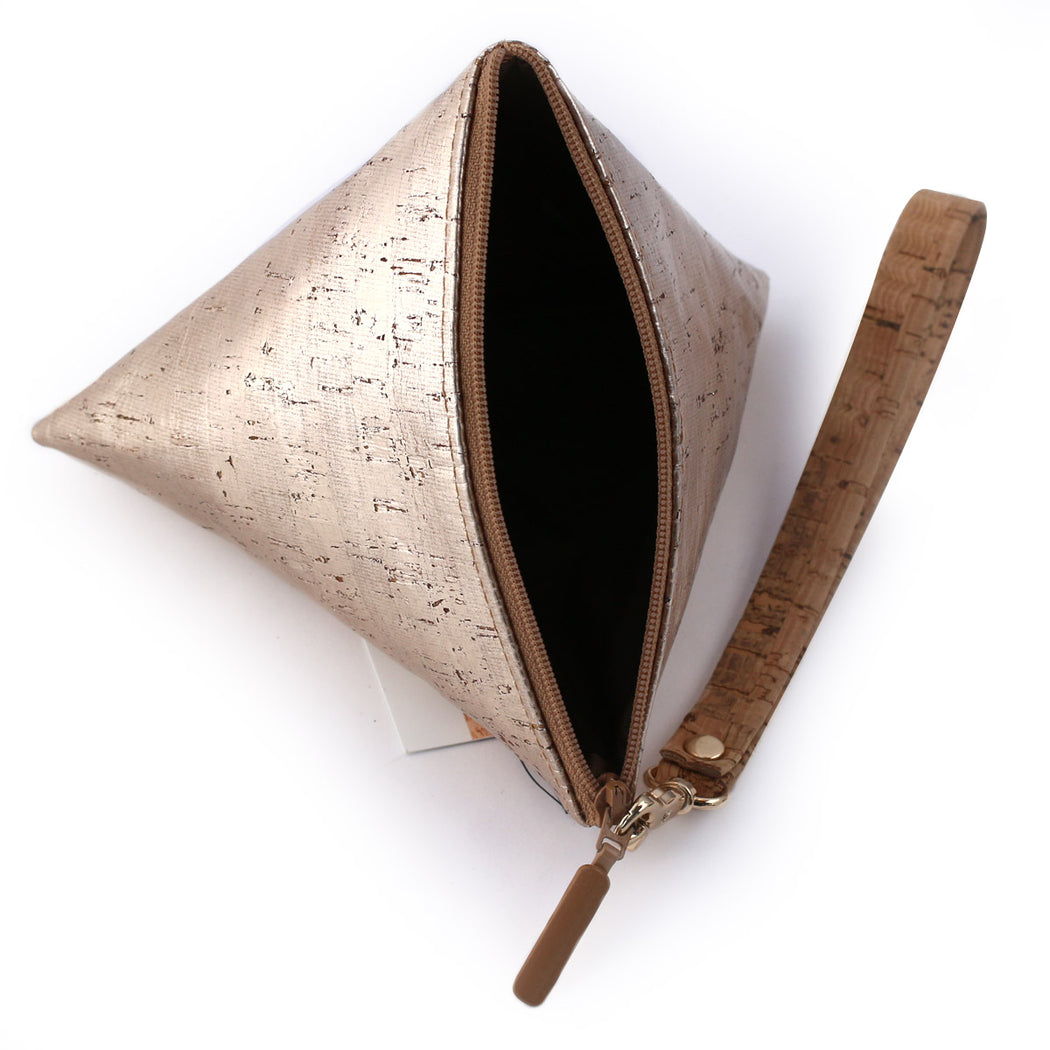 Cork Triangle Pouch wristlet clutch gold