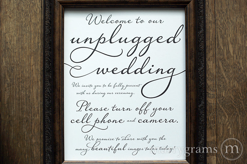 Welcome to Our Unplugged Wedding Sign Diagonal Style