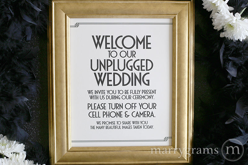 Welcome to Our Unplugged Wedding Sign Deco Style