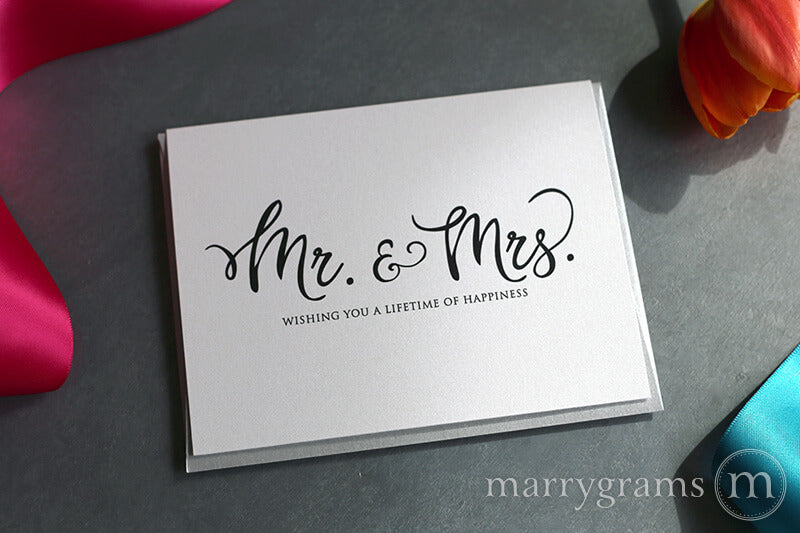 Mr. & Mrs. Lifetime of Happiness Wedding Wishes Card
