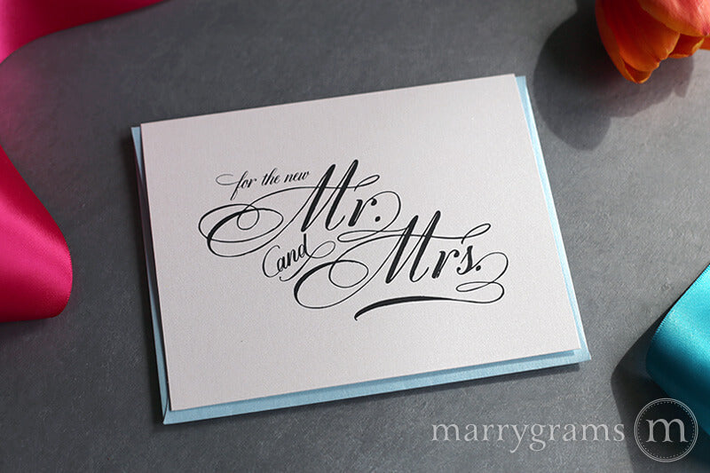 Wedding Card and Mrs Congratulations to the New Mr Floral Card - Wedding Congratulations Card