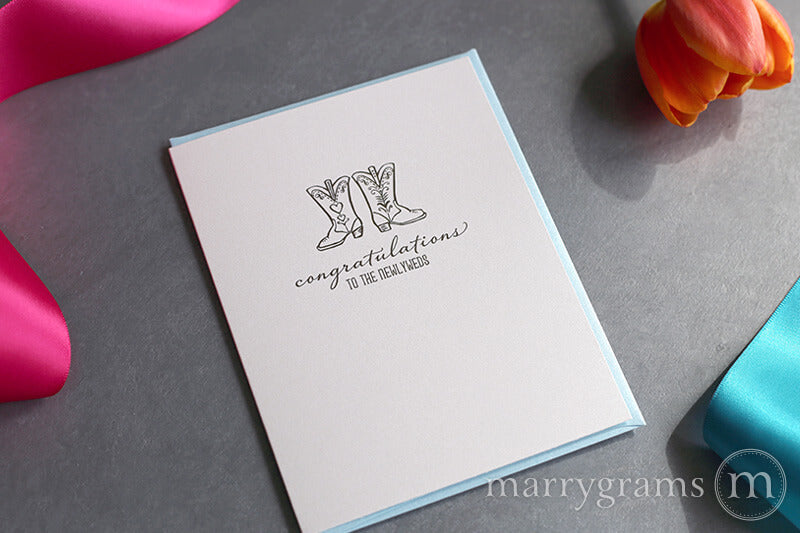 Southern Wedding Boots Congratulations to the Newlyweds Card