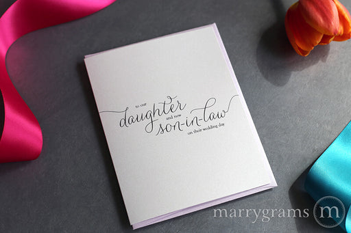 To Our Daughter & New Son-in-Law Wedding Day Card