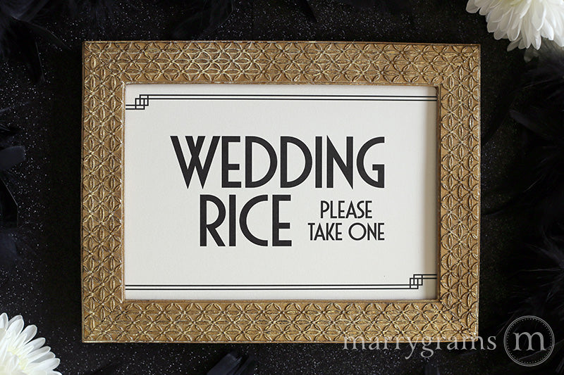 Wedding Rice Send Off Sign Deco Style