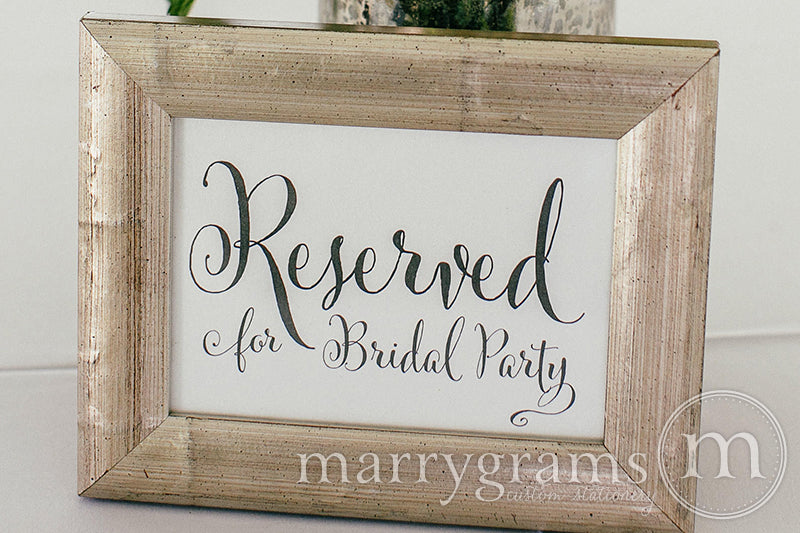 Reserved for Bridal Party Wedding Sign Whimsical Style