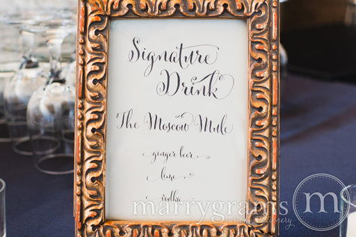 Signature Drink Custom Wedding Bar Sign Whimsical Style