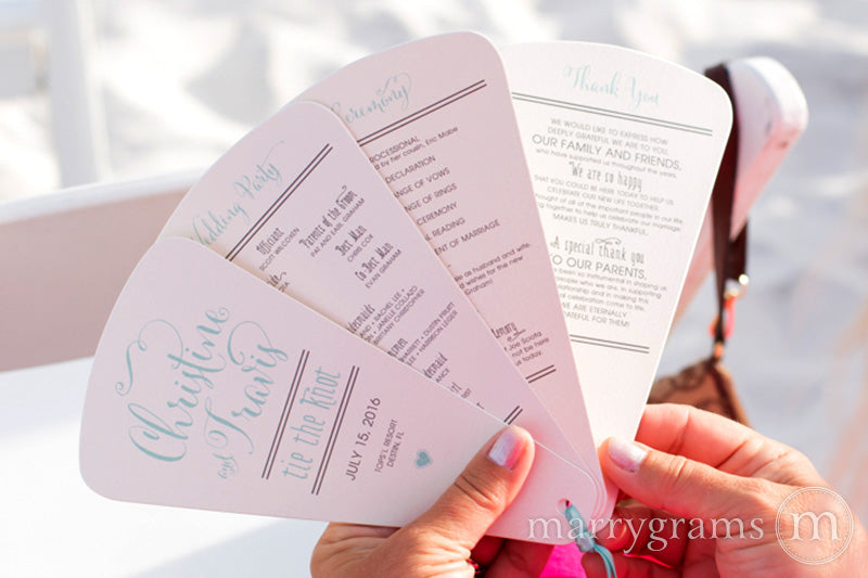 4 Blade Petal Wedding Program Fan Whimsical Style