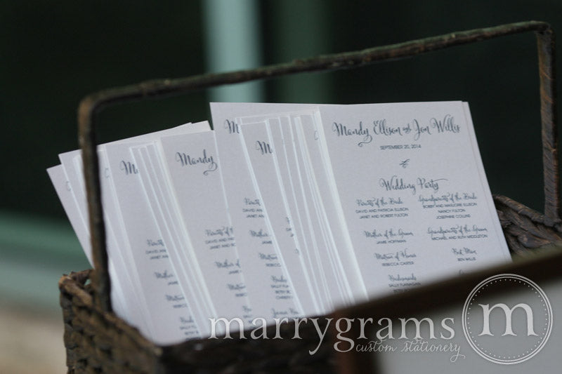 Flat Wedding Program Whimsical Style