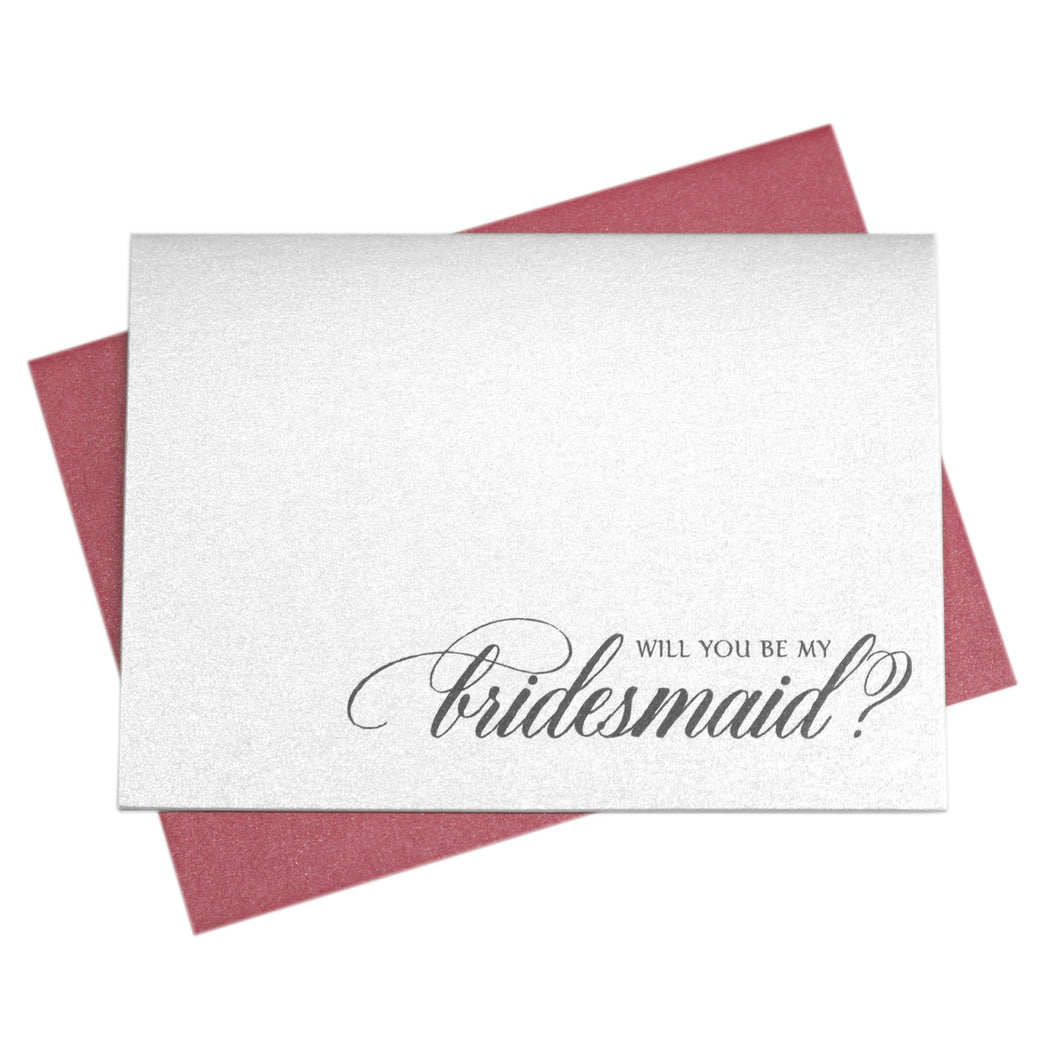Bridesmaid Card Will You Be My Bridesmaid Calligraphy Style