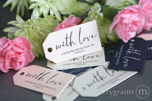 With Love Chic Heart Wedding Favor Tag