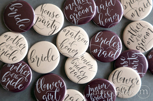 Bridal Party Buttons Darling Style - mother of the bride and groom, bride, maid of honor, matron of honor, junior bridesmaid, flower girl, bridesmaid buttons