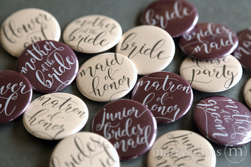 Bridal Party Buttons Darling Style