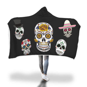 Hooded Blankets Day Of The Dead (5 Skulls - Black)