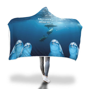 Dolphin Hooded Blanket 'Smile Often. Dream Big.'