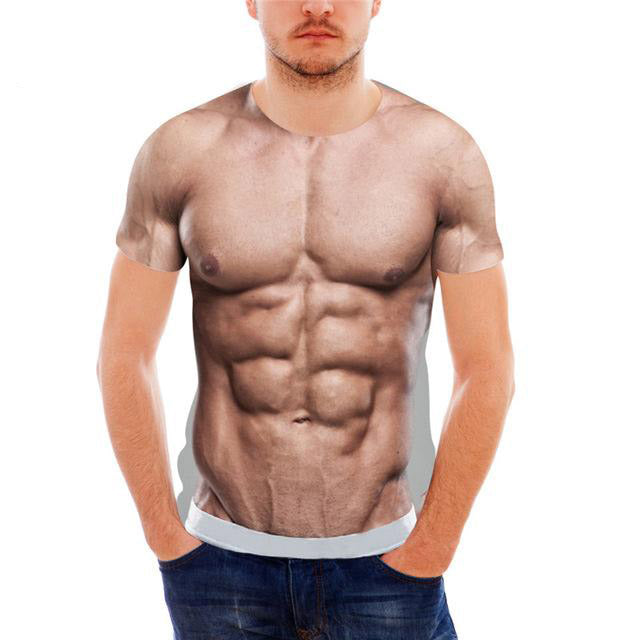 b3799054c31a 3D Muscle Six Pack Abs T-Shirt – funstuff.deals