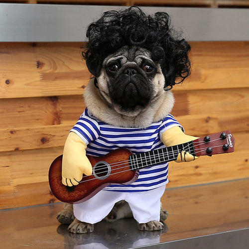 Guitar Playing Costume For Dog With Wig