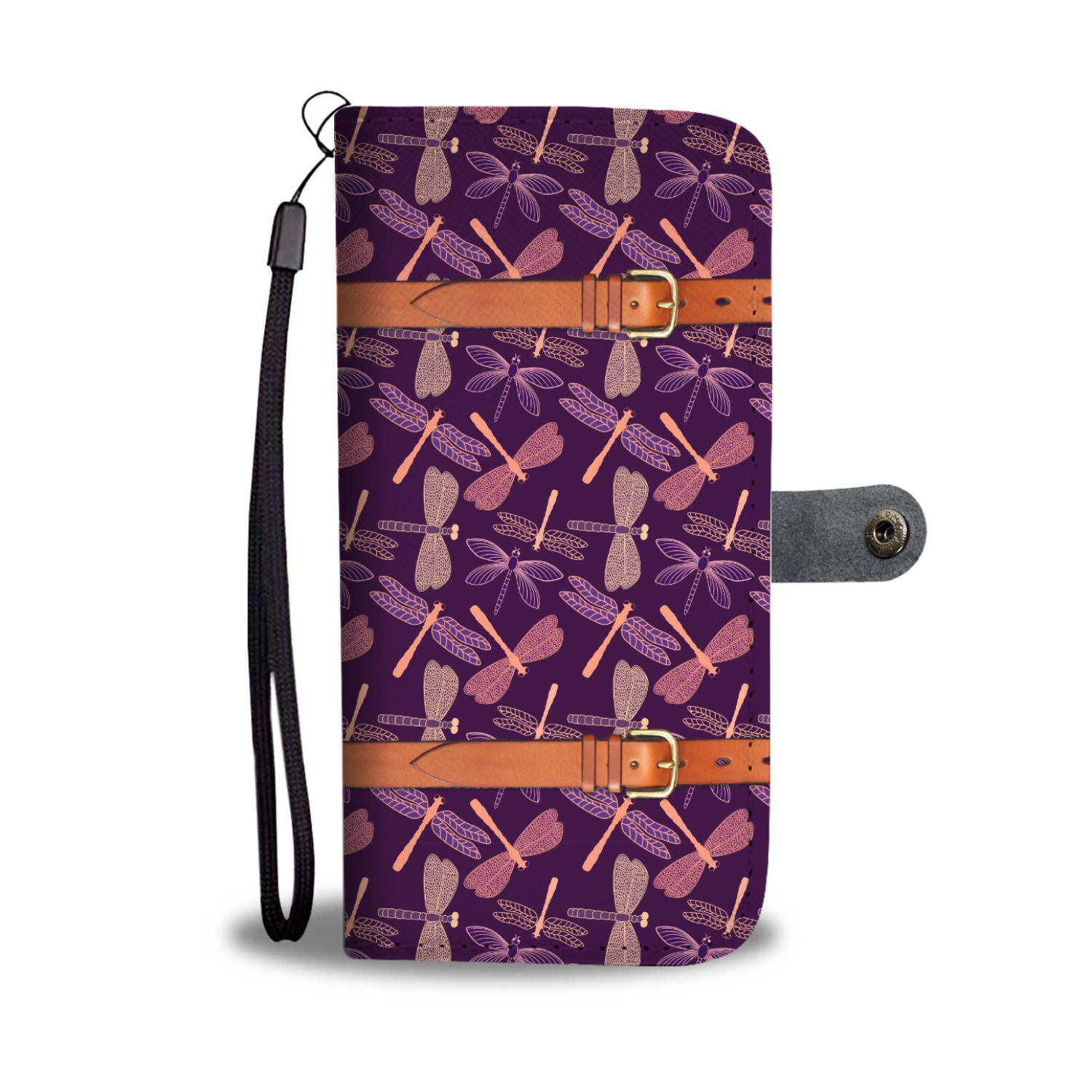 Dragonfly Pattern Wallet Phone Case - Trekmor