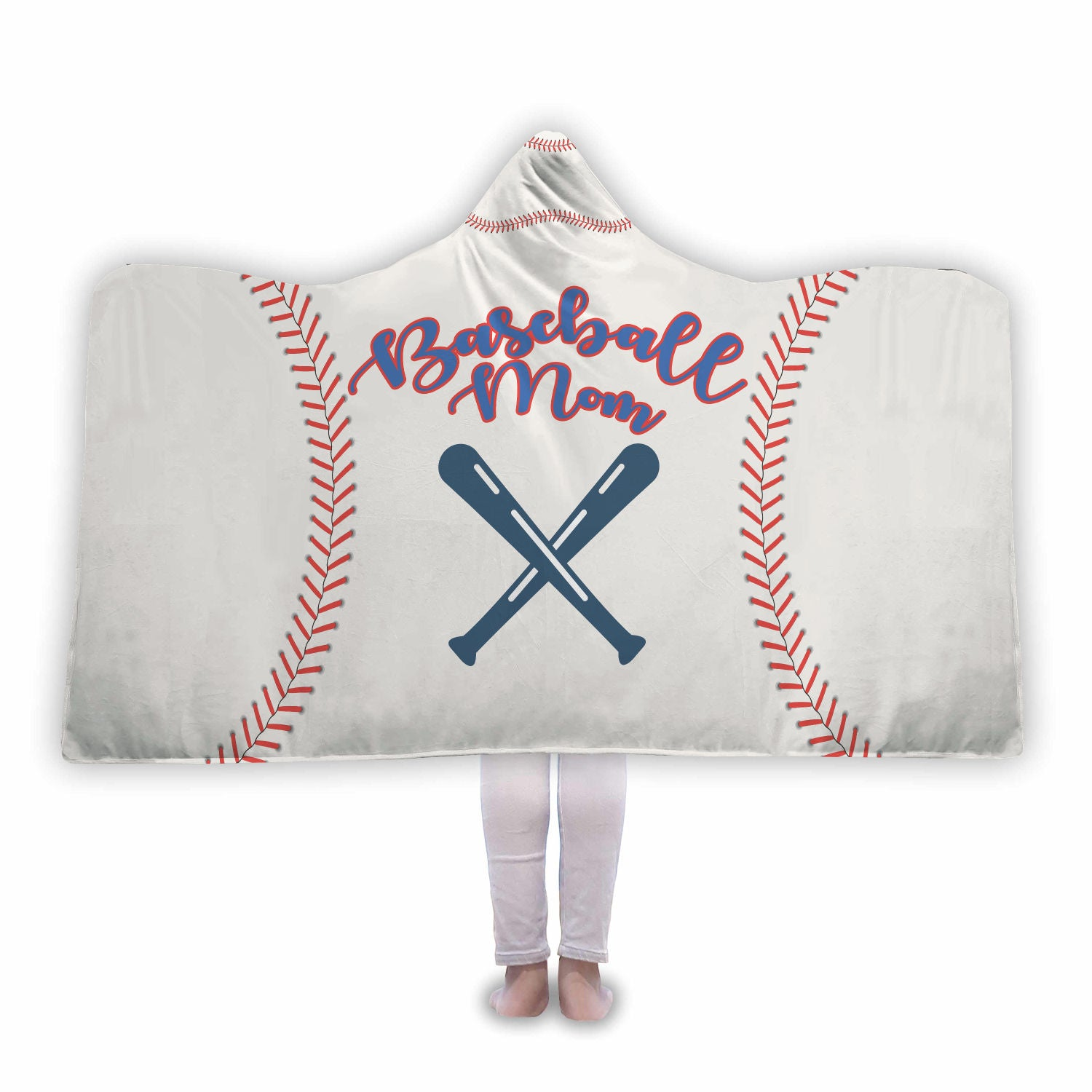 Baseball Mom White Hooded Blanket - Trekmor