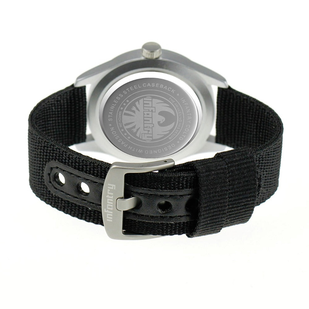 Luminous Nylon Strap Analog Army Watch With Date - Trekmor
