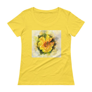Watercolor Honeybee - Ladies' Scoopneck T-Shirt - Trekmor