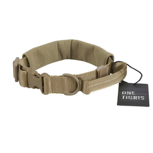 Tactical Nylon Dog Collar with Handle & Plastic Buckles - Trekmor