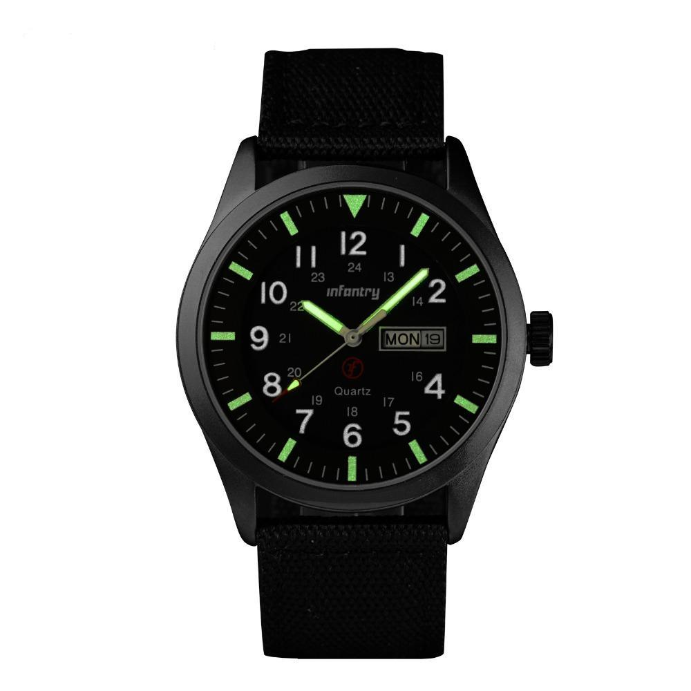 Mens Luminous Watche Nylon Fabric Strap Quartz