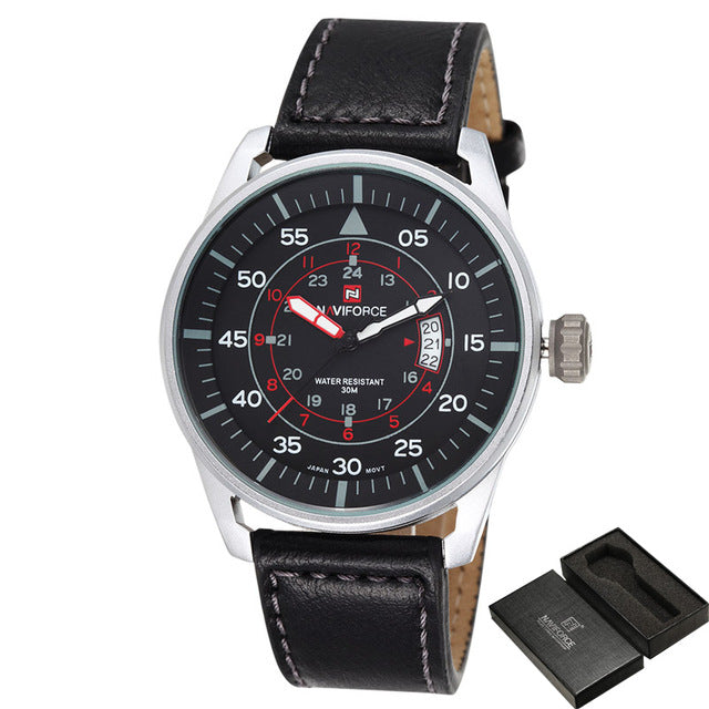 Ultra Thin dial Watch black or brown leather band- silver or black face - Trekmor