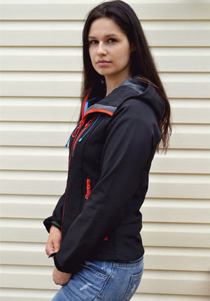 Women's Waterproof Hiking Soft Shell Fleece Hooded Jacket - Trekmor