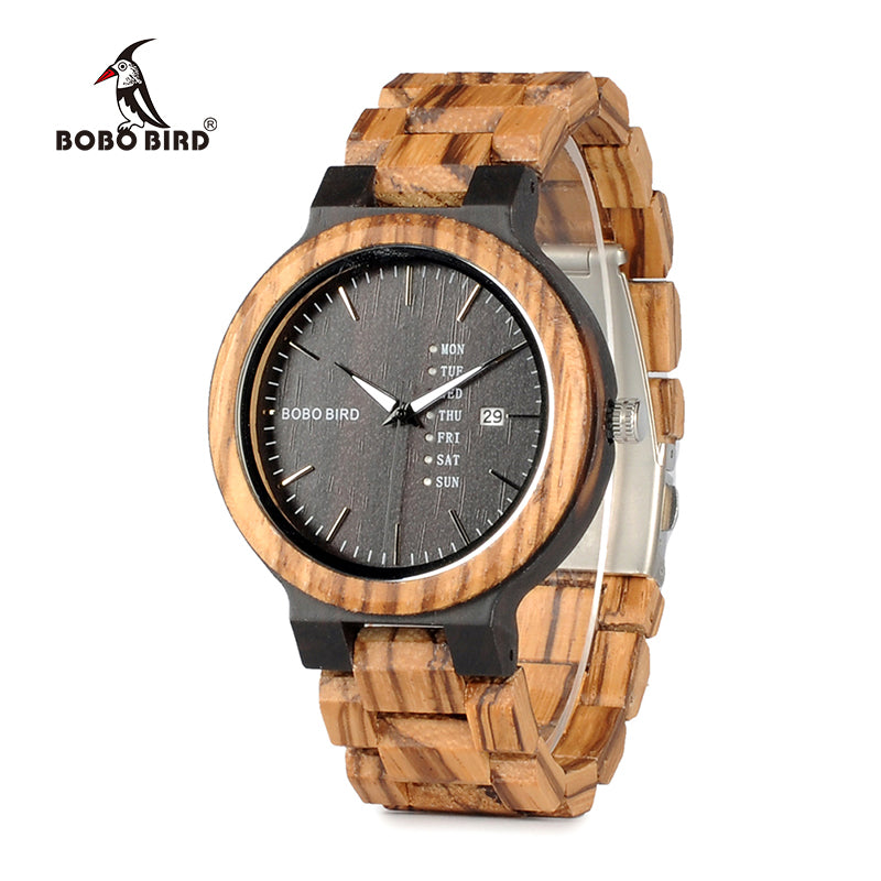 Zebra Wood Watch for Men with Week/Day - Trekmor