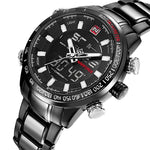 Men's Quartz LED/Analog Full Steel Watch - Trekmor