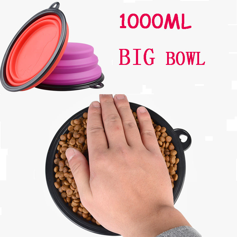 1000ml Portable Outdoor Travel Pet Dog Bowl Silicone Folding Bowls Food Drinking Water Pet Product Bowls - Trekmor