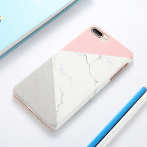 Marble + Wood Pattern Ultra Slim Hard PC Cover For iPhone - Trekmor