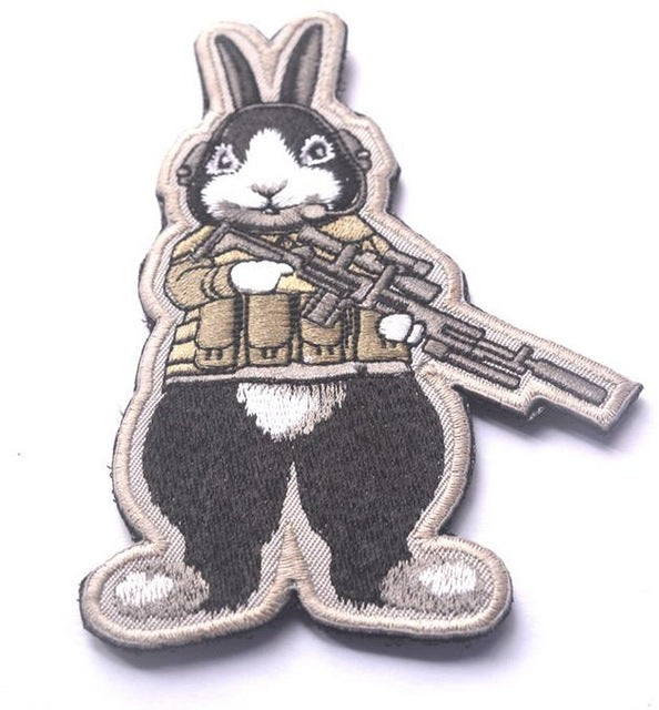 embroidered anime morale Patches bunny  tactical  military patch funny hook &loop army backpack for cloth jacket - Trekmor